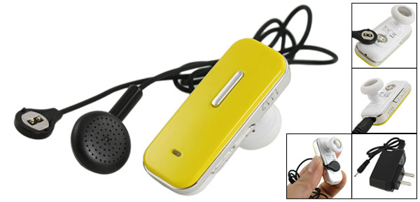 Yellow 10M Transmit Distance bluetooth Stereo Earphone Headset Headphone + 2 Pin Charger