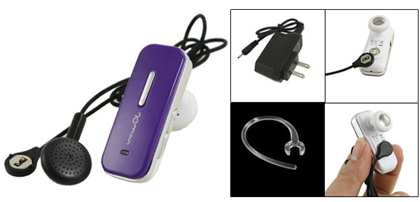 Purple Handsfree Stereo bluetooth Headset w 2 Pin US Plug Charger