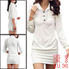 Women Point Collar Button Upper Long Sleeves Mini Dress White S