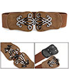 Snake Print Faux Leather Interlocking Buckle Brown Elastic Cinch ...
