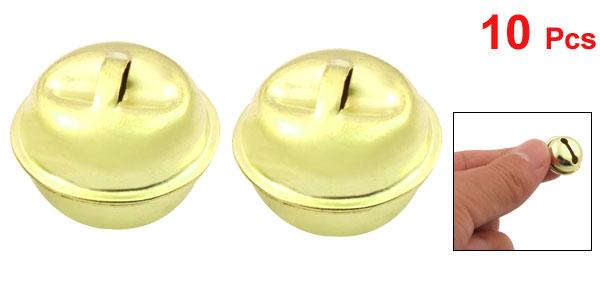 10 Pcs Gold Tone Ring Bells Christmas Tree Decor Ornament 15mm