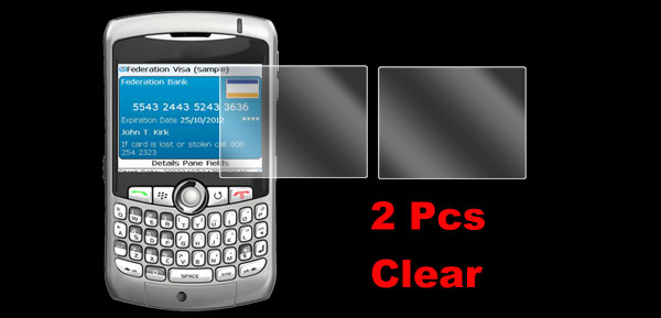 2 Pcs Clear Soft Plastic LCD Screen Protector Guard for BlackBerry 8300