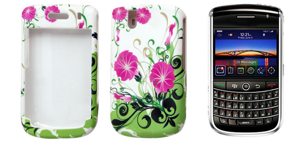 Flower Print Rubberized Hard Plastic Case Protector for BlackBerry 9630