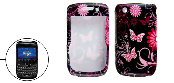 Black Pink Flower Butterfly Print Hard Plastic Case for BlackBerry 8520