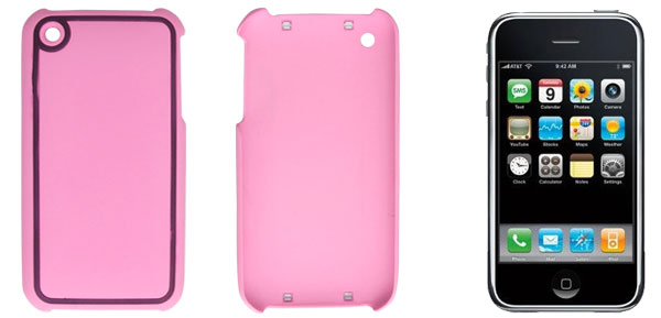 Pink Purple Rubberized Hard Plastic Back Case Shell for Apple iPhone 3G 3GS