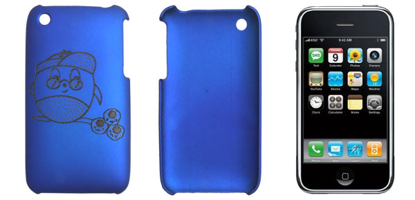 Dark Blue Rubberized Laser-cut Hard Plastic Back Case for Apple iPhone 3G 3GS