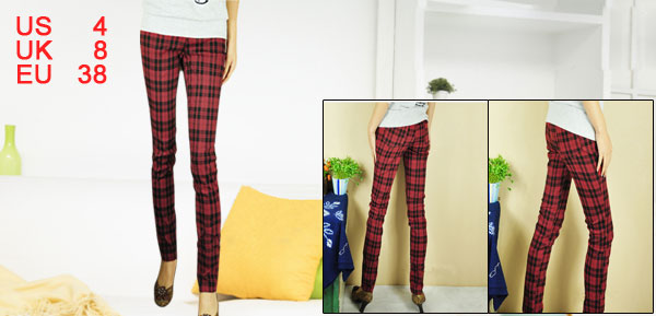 Woman Red Black Checked Elastic Waist Skinny Pencil Pants XS