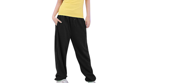 Woman Solid Black Drawstring Waist Hip Hop Casual Pants Trousers S