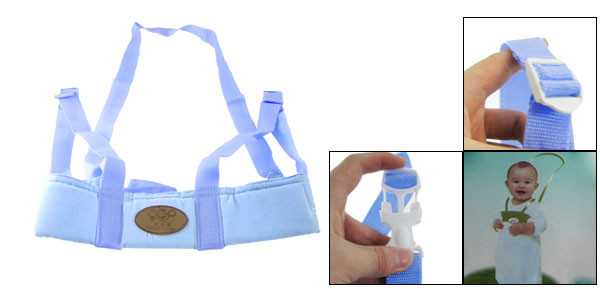 Adjustable Safety Harness Walking Learning Belt Strap Blue for Toddler Kid