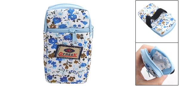 Blue Floral Detail Elastic Band Cellphone Holder Wrist Bag