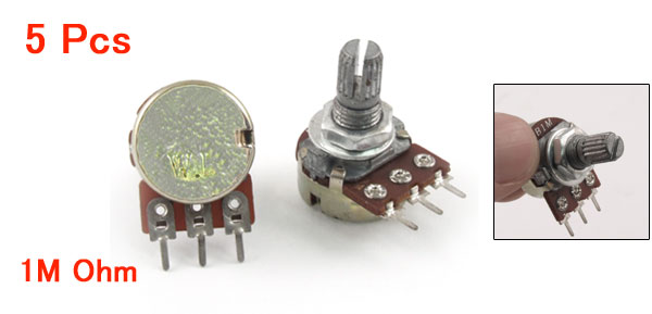 1M Ohm Single Linear Taper 3 Pins Rotary Potentiometers Pots 5 Pcs
