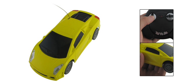 Yellow Plastic Mini Racing Car Model Toy w Remote Control