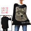 Allegra K Ladies Batwing Sleeve Black Beige Cat Print Stretchy Lo...