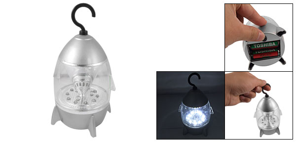 Battery Powered Silver Tone Clear Shell 14 LED Camping Light