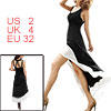 Women Black White Deep U Neck Sleeveless Bare Back Coattails Dres...