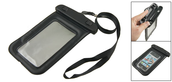 Black Plastic Water Resist Case Pouch w Neck Strap for iPhone 3G 3GS 4 4G