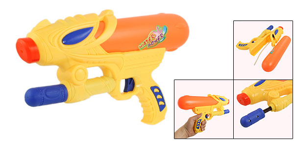 Children Yellow Orange Plastic Hand Pump Pressure Water Gun Fight Toy 12