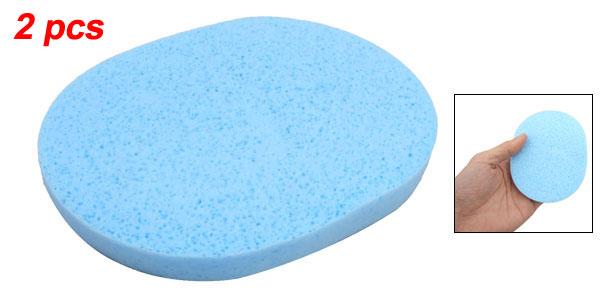 Lady Sky Blue Soft Sponge Facial Beauty Cleaning Powder Puff 2 Pcs