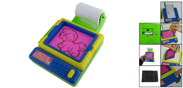 Child Battery Operated Blue Green Plastic Drawing Board Mini Fax Machine Toy