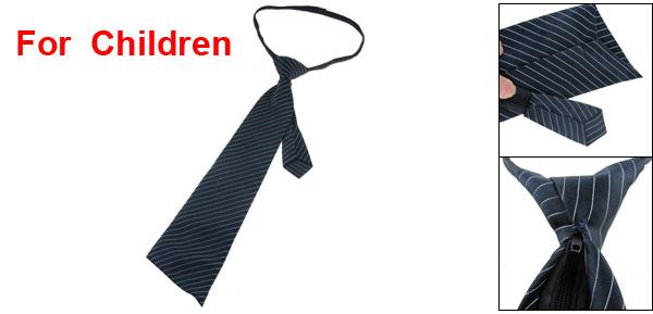 Polyester Zip Up Pre Tied Stripe Pattern Necktie Dark Blue for Children