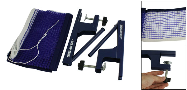 176cm x 14.5cm Blue Table Tennis Meshy Net w Post Stand Clamp