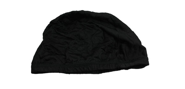 Adult Elastic Head Band Polyester Swimming Cap Black