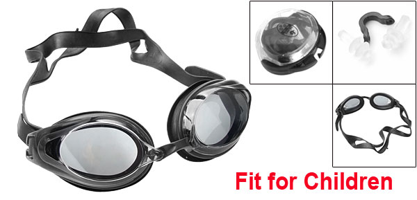 Black Clear Lens Plastic Oval-shaped Swimming Goggles for Children