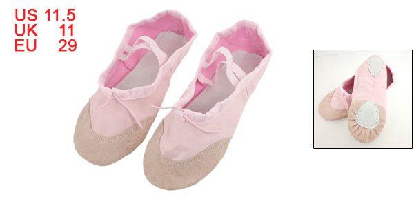Girls Split Sole Ballet Ballerina Dancing Flats Shoes Pink EU 29