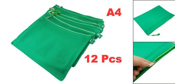 12 Pcs A4 Two Compartments Zipper Closure Green PVC File Folder Bags