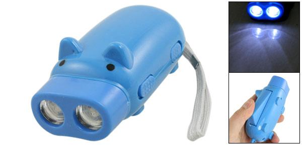 Cartoon Pig Shaped White 2 LED Light Hand Pressing Flashlight Blue