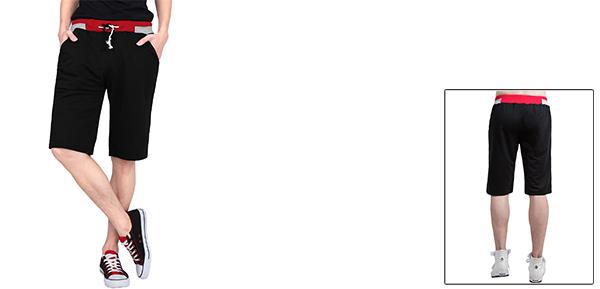 Men Color Block Drawstring Elastic Waistband Boardshorts Shorts Black M