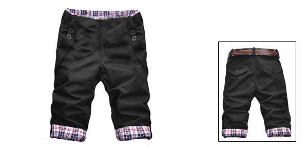 Men Black Plaid Trim Roll up Casual Half Pants Shorts W31