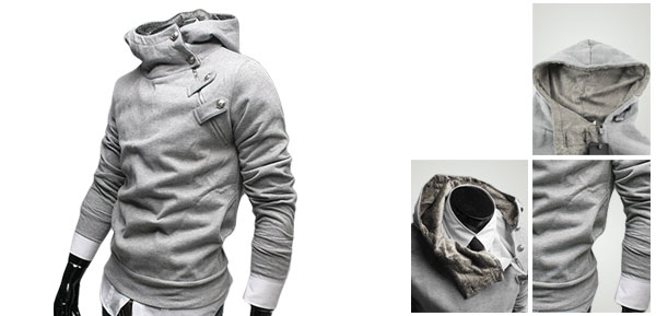 Stylish Korea Mens Top Designed Hoodie Jacket Coat Sweatshirt Gray M