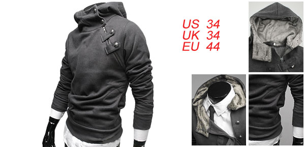 Mens Stylish Casual Hooded Hoody Autumn Coat Sweatershirt Dark Gray M