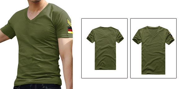 Stylish Mens T-shirt Short Sleeve Slim Fit Casual Tee Olive Green S