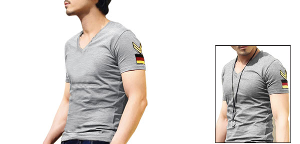 Mens Stylish Badge Embroidery V Neck Casual Tee T-shirt Light Gray M