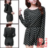 Dots Print Round Neck Zip up Back Long Sleeve Black Romper XS for...