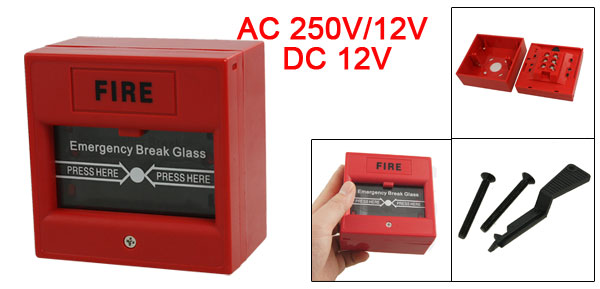 AC 250V/12V DC 12V Resettable Manual Call Point Fire Alarm Pull Station