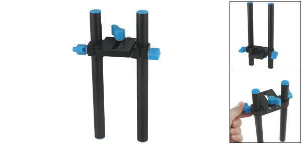 Follow Focus Rod Rail System Support for DSLR Shoulder Mount Rig Camera Black Blue