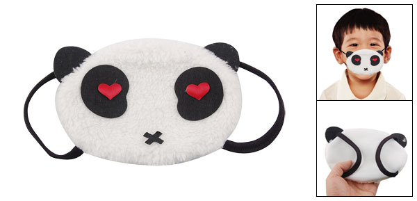 Heart Shape Red Eye Accent Black White Plush Panda Pattern Mouth Mask Muffle