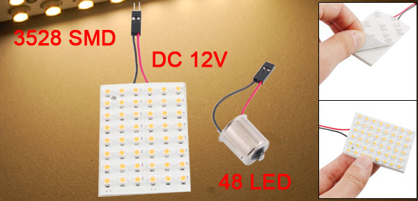 Warm White 48 LED Panel 3528 SMD Car Dome Light Lamp + BA9S 1156 Adapter