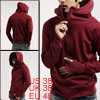 Mens Stylish Casual Hoodie Zipper Jacket Sweatshirt Burgundy M