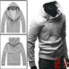 South Korea Mens Stylish Designed Hoodie Jacket Coat Light Gray L