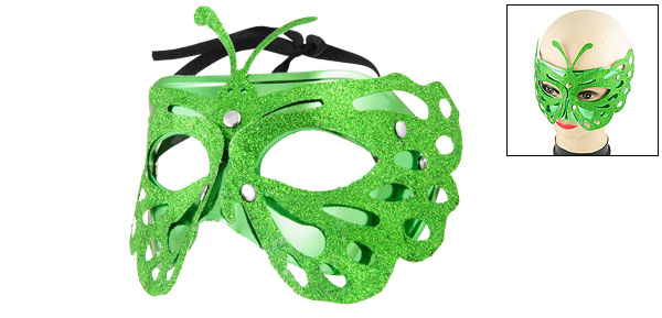 Women Green Glittery Powder Detail Self Tie Fancy Party Eye Mask