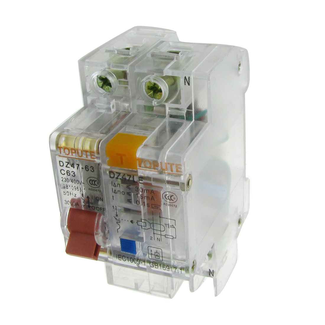Transparent-AC-230V-400V-63A-1P-N-Earth-Leakage-Circuit-Breaker
