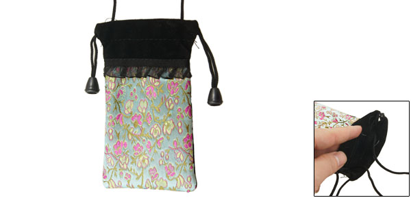Embroidered Flower Phone Holder Drawstring Velvet Pouch Light Green Black