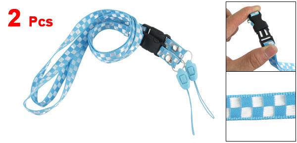 2Pcs Light Blue White Relaese Buckle Nylon Neck Strap for Cell phone