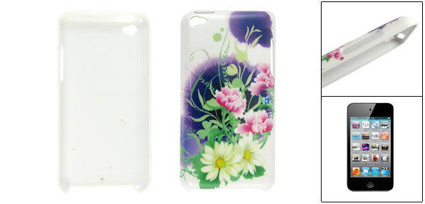 IMD Lotus Pattern White Back Butterfly Plastic Back Case for iPod Touch 4