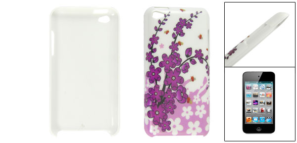 Purple Flower Print Hard Plastic Back Case for iPod Touch 4
