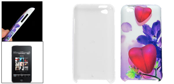 Heart Pattern Purple Flower White Plastic IMD Back Case for iPod Touch 4